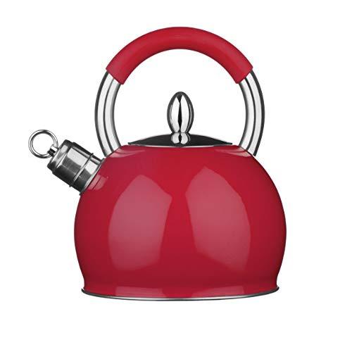 Premier Housewares 0505129 Bouilloire Sifflant Acier Inoxydable Rouge, 2.4 Litre
