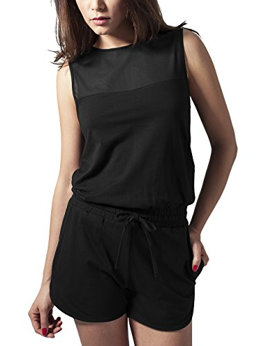 Urban Classics Ladies Tech Mesh Hot Playsuit, Schwarz