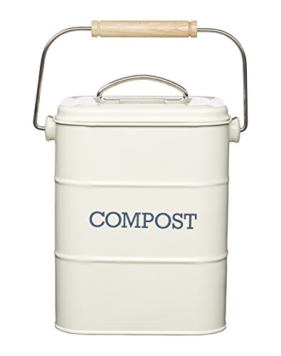 KitchenCraft Living Nostalgia Metal Kitchen Compost Bin, Antique Cream, 16.5 x 12 x 24 cm