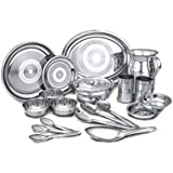 VPSK Alishan Stainless Steel 31 Pcs Heavy Guage Dinner Set ( Full Plates 6 Pcs,Quarter Plates 6 Pcs, Bowl 6 Pcs,Glass 6 Pcs,Jug 1 Pcs, Dinning Spoon 6 Pcs. TOTAL 31 PCS )