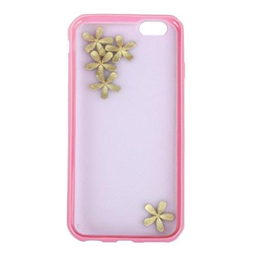 Phone case & Hülle Für IPhone 6 Plus / 6S Plus, Ultra-dünne transparente stereoskopische Diamant verkrustete Pflaume TPU Schutzhülle ( Color : Magenta ) Pink