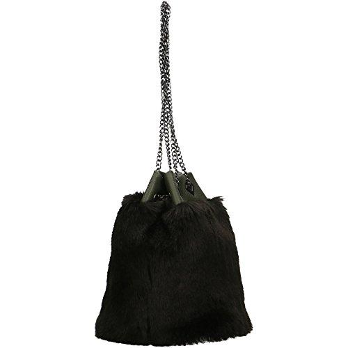 CTM Frau Umhängetasche mit Metallic-Schultergurt, echtem Leder in Italien - 21x25x17 Cm Grau-schwarz