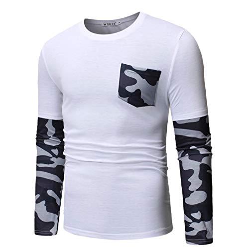 DNOQN Tops Herren Freizeit Herbst Slim Fit T-Shirt Top Long Sleeved T-Shirt Herren Vier Jahreszeiten Lässige Tarnung Patchwork Tasche Lange Ärmel Pullover Oberteil Weiß M