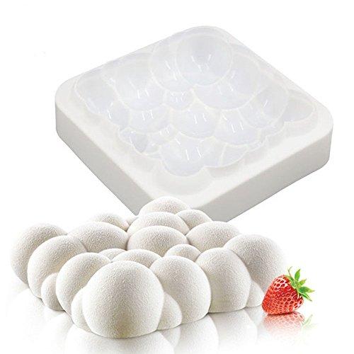 Hosaire Nueva llegada 1 unids burbujas 3D nube del cielo molde de pastel de silicona de color blanco, molde para hornear, mousse pasteles de pastelería de gasa, pan, galletas, dulces, helado, jalea, brownie, galleta