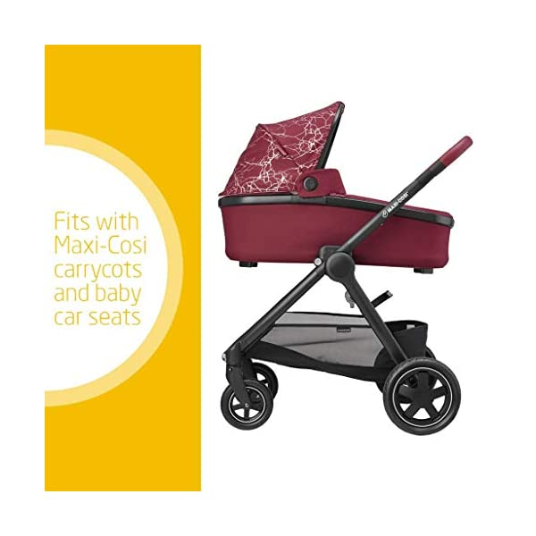 Maxi-Cosi Adorra Baby Pushchair, Comfortable and Lightweight Stroller with Huge Shopping Basket, Suitable from Birth, 0 Months - 3.5 Years, 0-15 kg, Marble Plum Maxi-Cosi Urban stroller, suitable from birth to 15 kg (birth to 3.5 years) Cocooning Seat: The luxury of a large padded seat for the extra comfort of your little one A lightweight stroller less than 12 kg that makes walking effortless 2