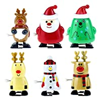 STOBOK Christmas Wind-Up Toys Funny Clockwork Toys Santa Snowman Elk Walking Toys for Festive Party Favor Goody Bag Filler