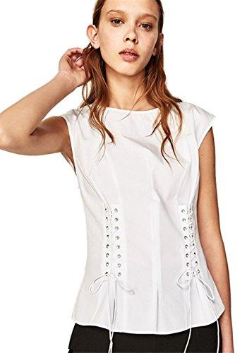 Moda Senza Maniche Laccetto Laccetti Allacciatura Davanti Blouse Cami Vest Canotte Tank Shirt peplo Top Bianco Bianco