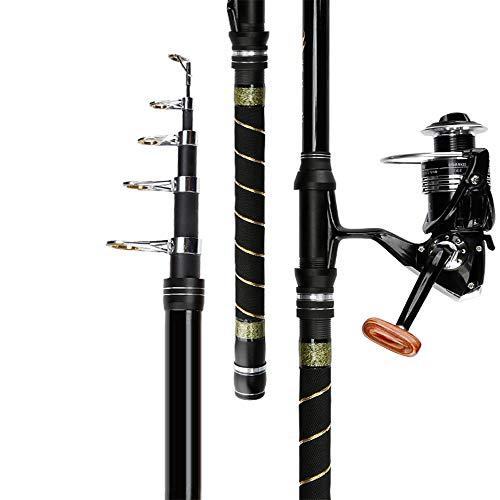 FDABFU Teleskop Tragbare Angelrute Long Shot Angelrute Meeresrute mit Angelrute Angelschnur Haken und Spinner Angelgeräte-2.4M