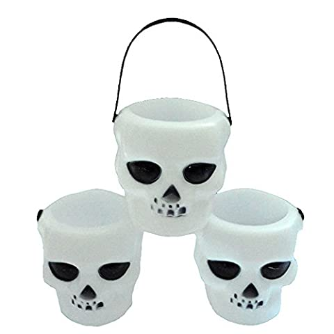 FUNDIY Halloween Party Prom Bar KTV Scene Decoration Handles Skeleton Witch Candy Jar Holder Bucket Children Dress Up Props