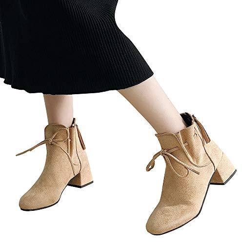 Preisvergleich Produktbild TianWlio Stiefel Frauen Herbst Winter Schuhe Stiefeletten Boots Zurück Reißverschluss Wildleder Schuhe Stiefeletten Bow Mode High Heel Stiefel Khaki 36