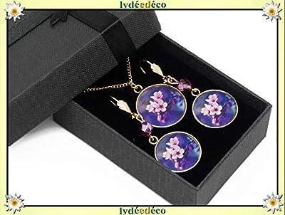 Parure Collier Boucles Japon fleur cerisier violet rose blanc laiton doré 24k gold filled 14k résine cadeaux personnalisés cadeau noel maman anniversaire cérémonie mariage invité fête des mères