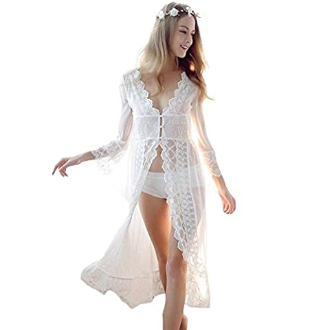 SEX WOMEN Élégant Long Cardigan Robe Slim Perspective Plein Lacet Iintimes
