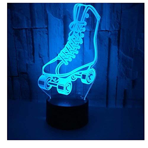 LED-Lampen-Nachtlicht der optischen Illusion 3D,Tolle 7 Farben Schnell Berühren-Schalter,Geburtstags-Weihnachtsferiengeschenk für Kinder und Freunde,Rollschuh_a