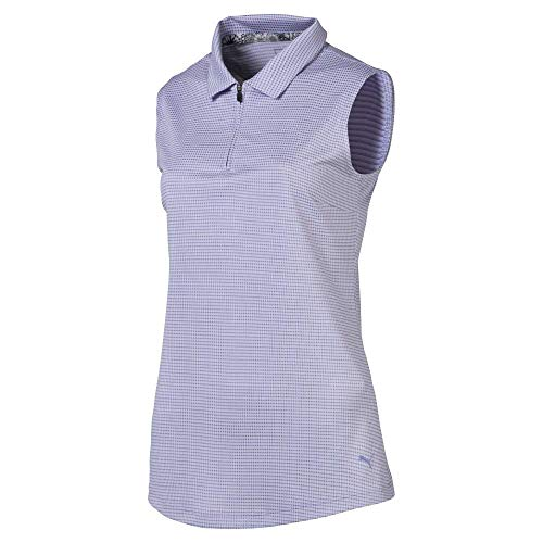 Puma Golf Damen Poloshirt 2019 Checker, Damen, 2019 Checker Sleeveless Polo, Sweet Lavender, Large - Damen Strukturierte Performance Polo