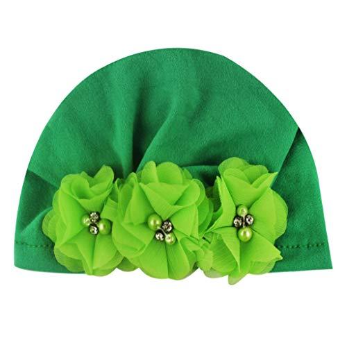 10 Farben Babymütze Boho Indien Hut Neugeborene Baby Jungen Mädchen Elastische Turban Weich Baumwolle Stirnband Kopf Cap Für 0-2 Jahre(Grün,Einheitsgröße) (Fedora Grün Lila Und)