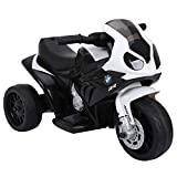 HOMCOM Moto Eléctrica BMW Triciclo Trimoto Infantil 6V Motobicicleta para Niños 18-36 Meses 66x37x44cm Negro