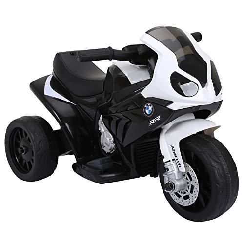 HOMCOM Elektro Kindermotorrad Kinderfahrzeug Lizensiert von BMW S1000RR Elektro-Dreirad mit Akku (Schwarz)