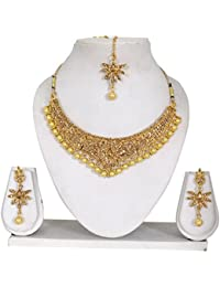 Vipin Store Golden Kundan & Stone With Yellow Pearl Gold Plated Jewelery Set
