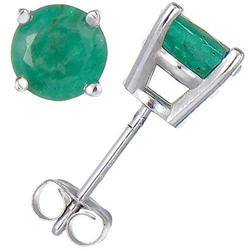 Damen-Ohrringe Stecker 14Kt Gold 0,5Kt Smaragd (I1-I2 Reinheit) (Smaragd Und White Gold Ohrringe)