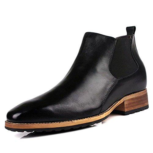 SYYAN Uomo Retro Pelle Stivali di Chelsea Nero Marrone , black , 42