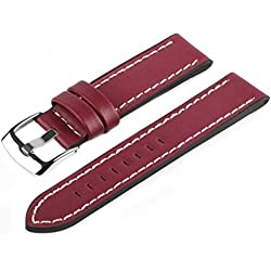 Marchel PRO45 Leather Bracelet Burgundy Watch Band 20 mm Watch Band