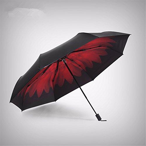 Regenschirm, klassischem Schwarz und Chrysantheme Falten Sonnenschutz UV-Sonnenschirm Compact Travel...
