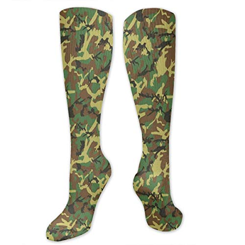 Unisex Highly Elastic Comfortable Knee High Length Tube Socks,Woodland Camouflage Pattern Abstract Concealment Hiding In Jungle,Compression Socks Boost Stamina,Dark Green Pale Green Brown -