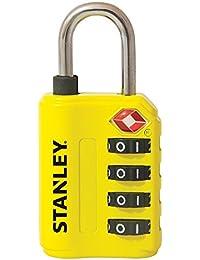 Stanley 81152393401 Candado de combinación de 4 dígitos con indicador de Seguridad, Amarillo, 30 mm