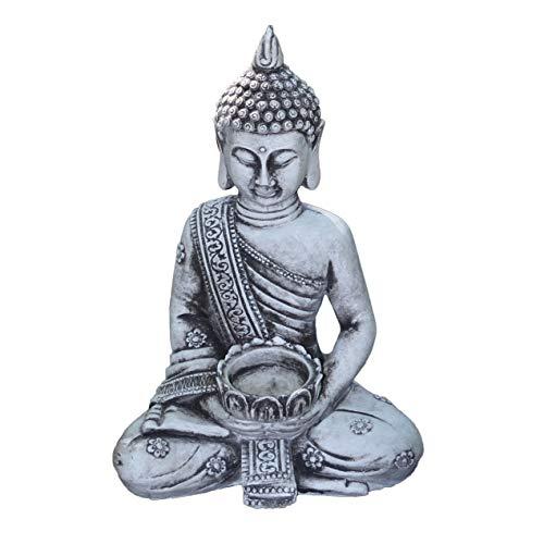 gartendekoparadies.de Massive Steinfigur Stein Thai Buddha klein für Teelicht aus Steinguss frostfest