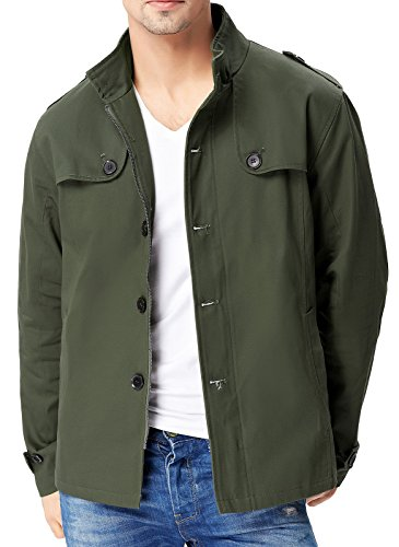 herren jacke winter wintermantel Jacke Herren Pea Coat Armee Grün winterjacke Größe XL PJ0032-2 (Jacke Double-breasted Peacoat)