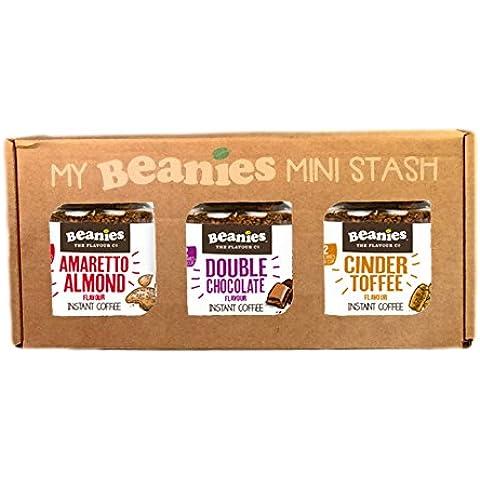 Café soluble Beanies con sabores - Caramelo, Amareto, Chocolate - 3 x 50g - potecitos de vidrio en caja de presentacion - - Un buen regalo de navidad! vendedor