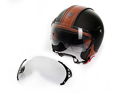Casco de Moto Casco Jet Roller cmx Hazel XL Negro Mate con piel marrón Incluye Visera transparente + adicional Visera transparente