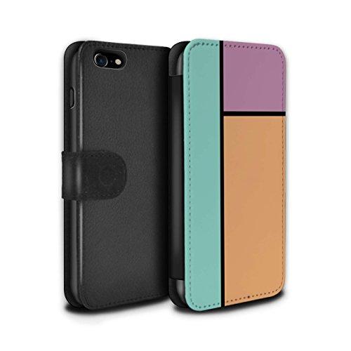 Stuff4 Coque/Etui/Housse Cuir PU Case/Cover pour Apple iPhone 8 / 3 Carreaux/Turquoise Design / Carreaux Pastel Collection 3 Carreaux/Orange