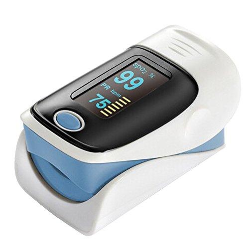 forepin reg; Tragbar Digital Blut-Sauerstoff und Pulssensor Meter Fingertip Finger Puls Oximeter Pulsoximeter mit OLED Display Heart Rate Meter Monitor für Senioren und Erwachsene, Blau