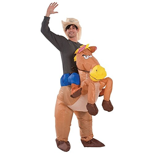 Bigtree gonfiabile costume cowboy cavallo tuta e cappello fancy dress stag party adulto outfit