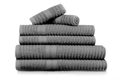 Restmor 6 TLG Handtuch Set Reine 550g/m² Baumwolle - Brooklyn - Holzkohle/Charcoal (Große Gerippte Handtücher)
