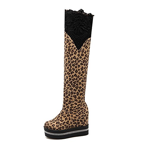 VogueZone009 Damen Ziehen auf Hoher Absatz Blend-Materialien Rein Hoch-Spitze Stiefel, Schwarz, 34