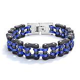 Reiko Noir et Bleu Bracelet en Acier Inoxydable pour Hommes, Maillon de Vélo,...