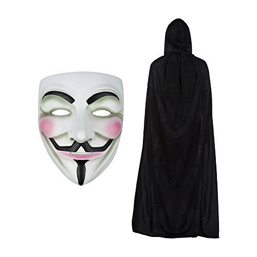 V for Vendetta Maske & Kapuze Cape Modisches Kostüm-Set (V For Vendetta Kostüm)