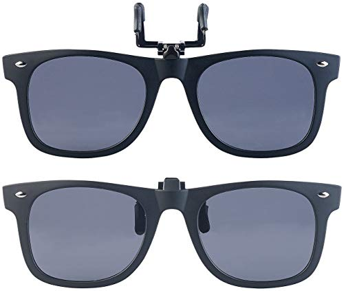 PEARL Sonnenbrille Aufsatz: 2er-Set Sonnenbrillen-Clips im Retro-Look, polarisiert, UV400 (Brillenaufsatz Sonnenbrille)
