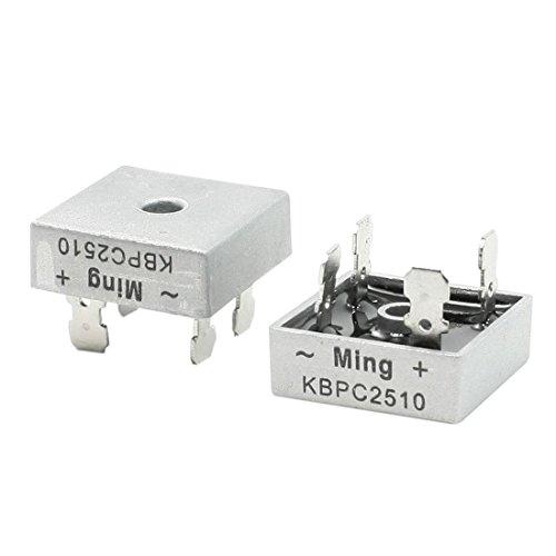 REFURBISHHOUSE 2 Stueck Quadrat Silber Kopf 1000V 25A Vollweg Brueckengleichrichter - Brückengleichrichter Spannung