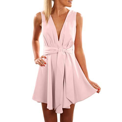 Damen Kleider Boho Vintage Sommerkleid V-Ausschnitt A-Linie Minikleid Swing Strandkleid mit Gürtel Ärmelloses Kleid mit Bund Volltonfarbe(Schwarz, Blau Pink Pink) ()