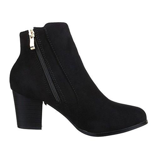 Damen Schuhe, F58, STIEFELETTEN WESTERN STYLE BOOTS Schwarz