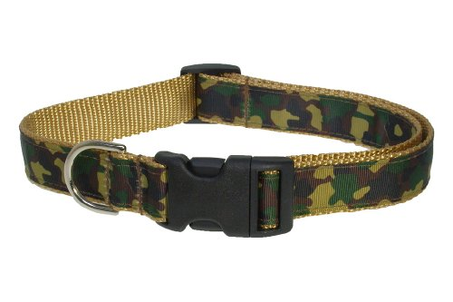 Medium Camouflage/Tan Dog Collar: 3/4 wide, Adjusts 13-20 - Made in USA. by Sassy Dog Wear