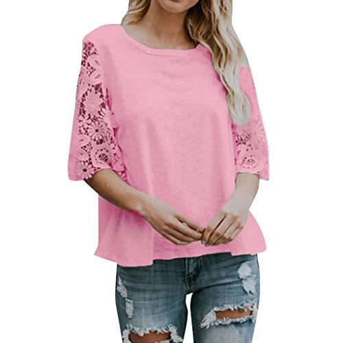LEXUPE Frauen BeiläUfige Feste Spitze ÄRmel Soild Splice Rundhals Tunika Shirt Tops Bluse(Rosa,Medium