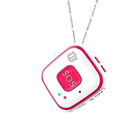 Micro Kinder GPS Tracker Halskette Mini Senioren SOS Alarm, eingebaute Antenne Echtzeit Tracking für Kinder Baby Locator WiFi Persönlichen SOS Anhänger rf-v28, rot