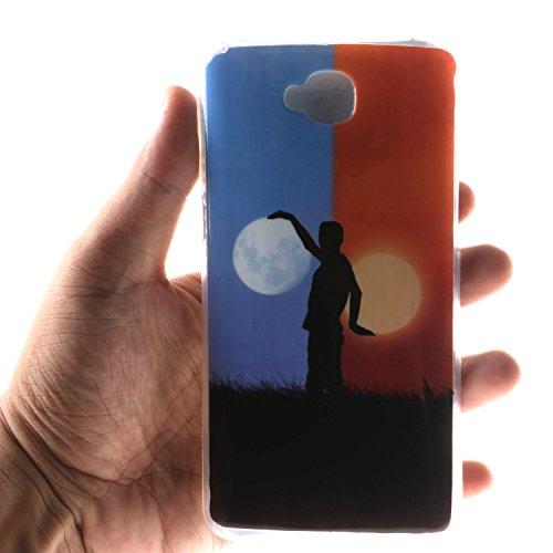 Pour Apple iPhone 5 5S 5SE Coque,Ecoway Housse étui en TPU Silicone Shell Housse Coque étui Case Cover Cuir Etui Housse de Protection Coque Étui Apple iPhone 5 5S 5SE –Black smiley Sun and moon
