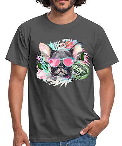 Spreadshirt Animal Planet Coole Französische Bulldogge Mit Sonnenbrille Männer T-Shirt, XXL, Graphite