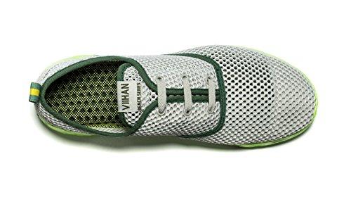 Viihahn Hommes D'eau Respirante Mesh Lace-Up Séchage Rapide Aqua Chaussures Gris