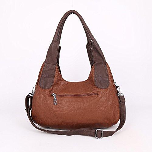 Angelkiss 2 Top Cerniere di chiusura tasche multiple Borse Lavato borse in pelle a tracolla borse AK11282M Marrone+caffè